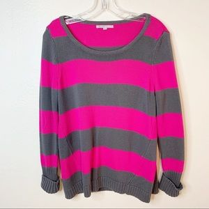GAP Pink and Gray Striped Cotton Sweater M
